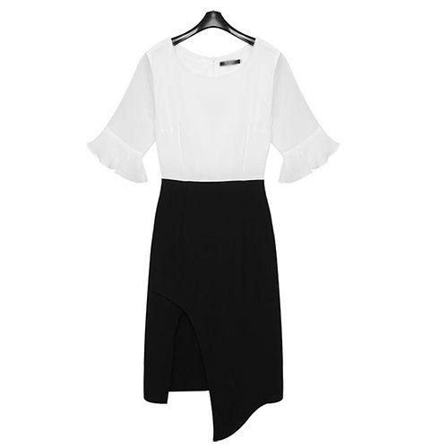 Fashion Contrast Color See-Through Trumpet Sleeve Slit Hem Dress on Luulla