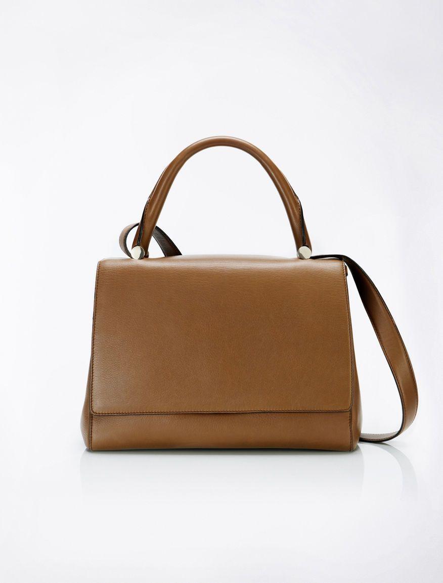 Leather Jbag, tobacco - Max Mara