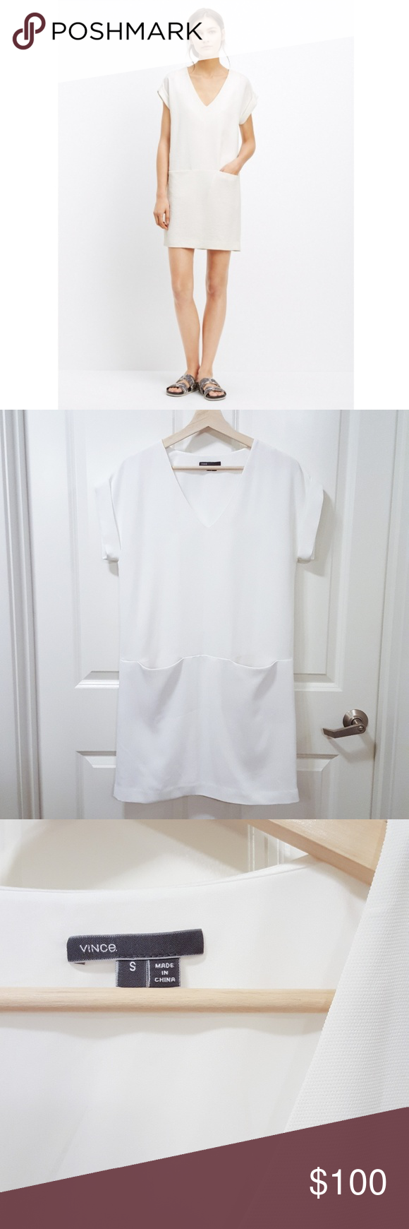 Vince White Rolled Sleeve Shift Dress How To Roll Sleeves Dresses Clothes Design [ 1740 x 580 Pixel ]
