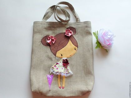c51936c54d5a Купить Эко-сумка из льна с аппликацией. - серый, рисунок, Экосумка, сумка  для лета, стильная сумка