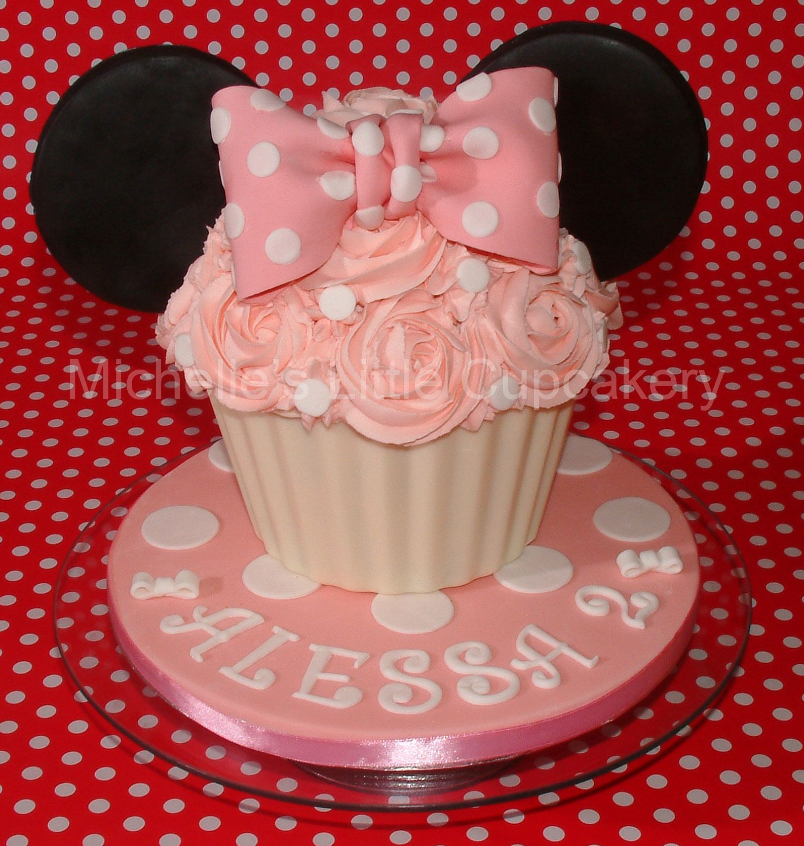 Disney Themed Cakes Minnie Mouse inspired giant lemon cupcake
