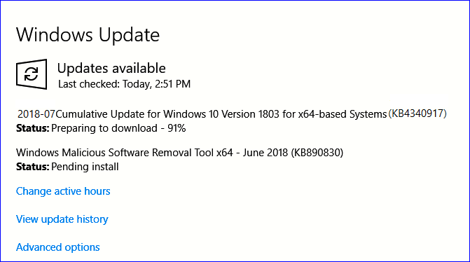 Solved: Windows update (KB4343909) stuck checking for