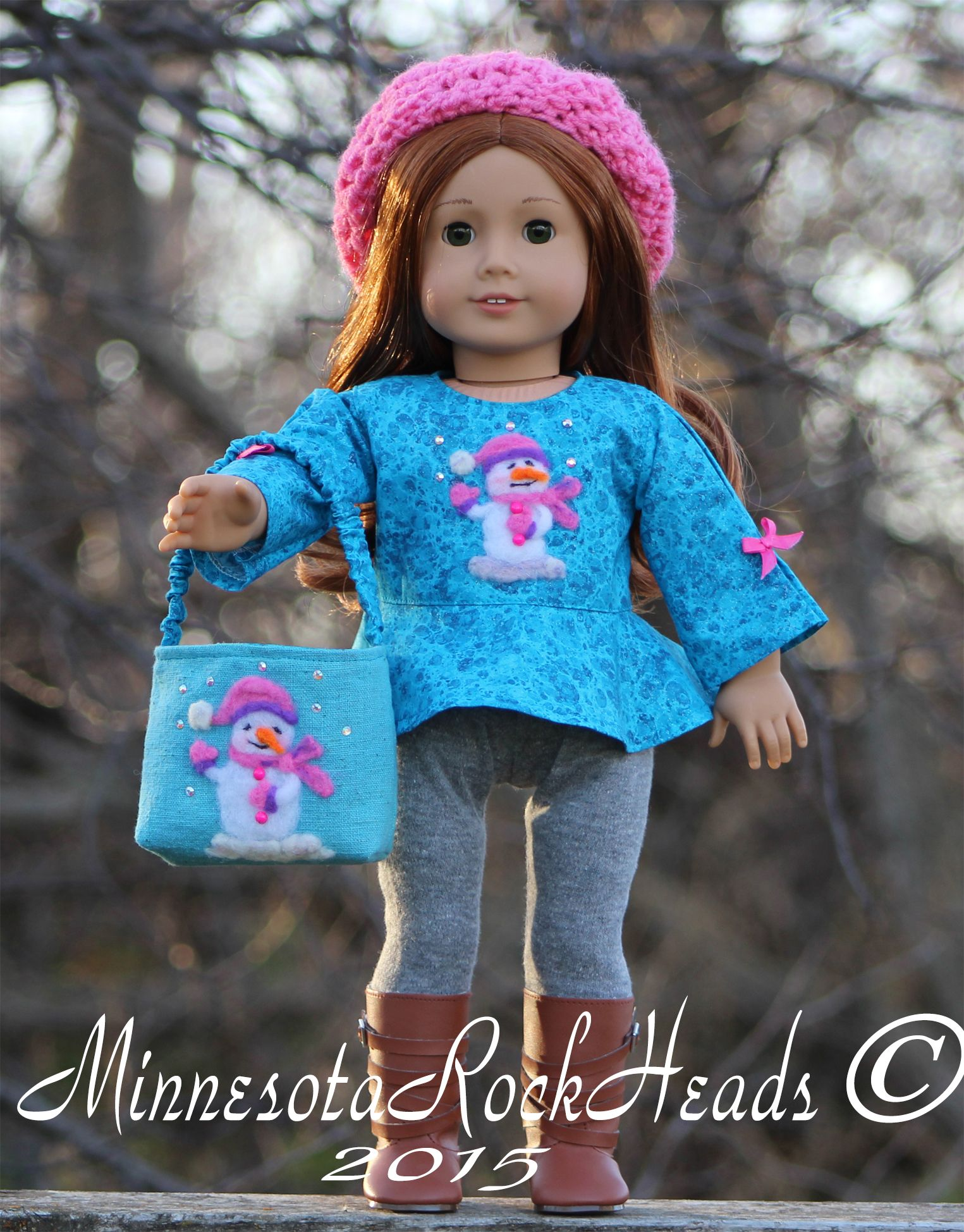 Top with needle felted snowman and leggings. Holding her very own OOAK Shopping Bag. What outfit wouldn't be complete without your favorite Beanie. Sarah is already to go Shopping. #OHSewKat #SchoolBellBlouse #pixieFaire #LibertyJane #DollTagClothing #MinnesotaRockHeads #OOAK #Needlefelting #Snowman #winter2015 #sewing #crocheting