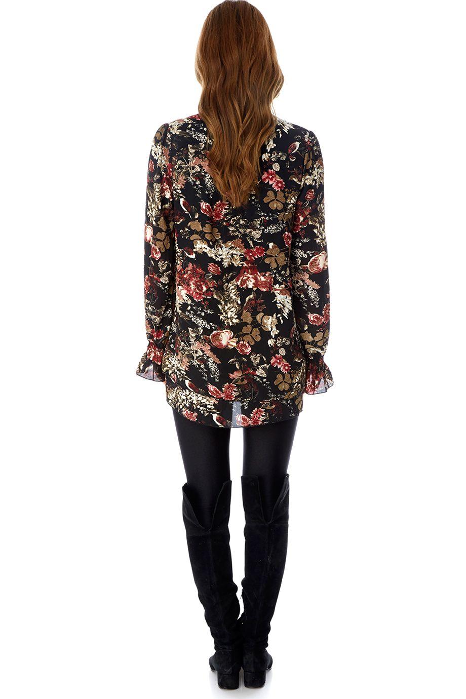 Μπλουζα floral στυλ 70's boheme σε λεπτό ύφασμα, μακρια μανικια με λεπτομέρια στο τελειωμα | Mela ♥︎ London | Phillyshop.gr