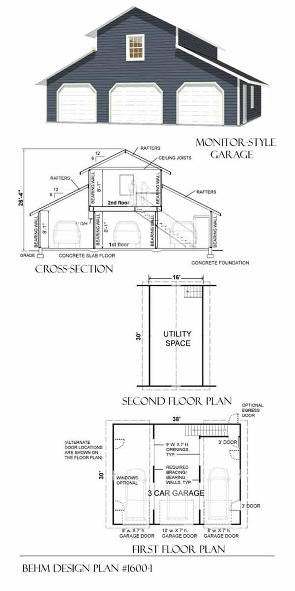 3 car monitor garage with loft plan 1600 1 by behm design for Barn style garage plans for free