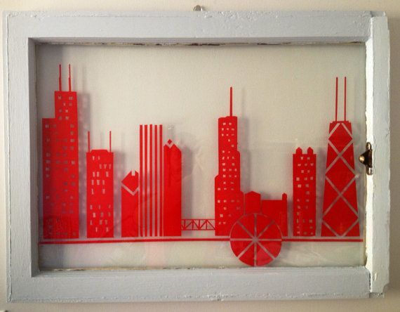 crimson chicago skyline on glass