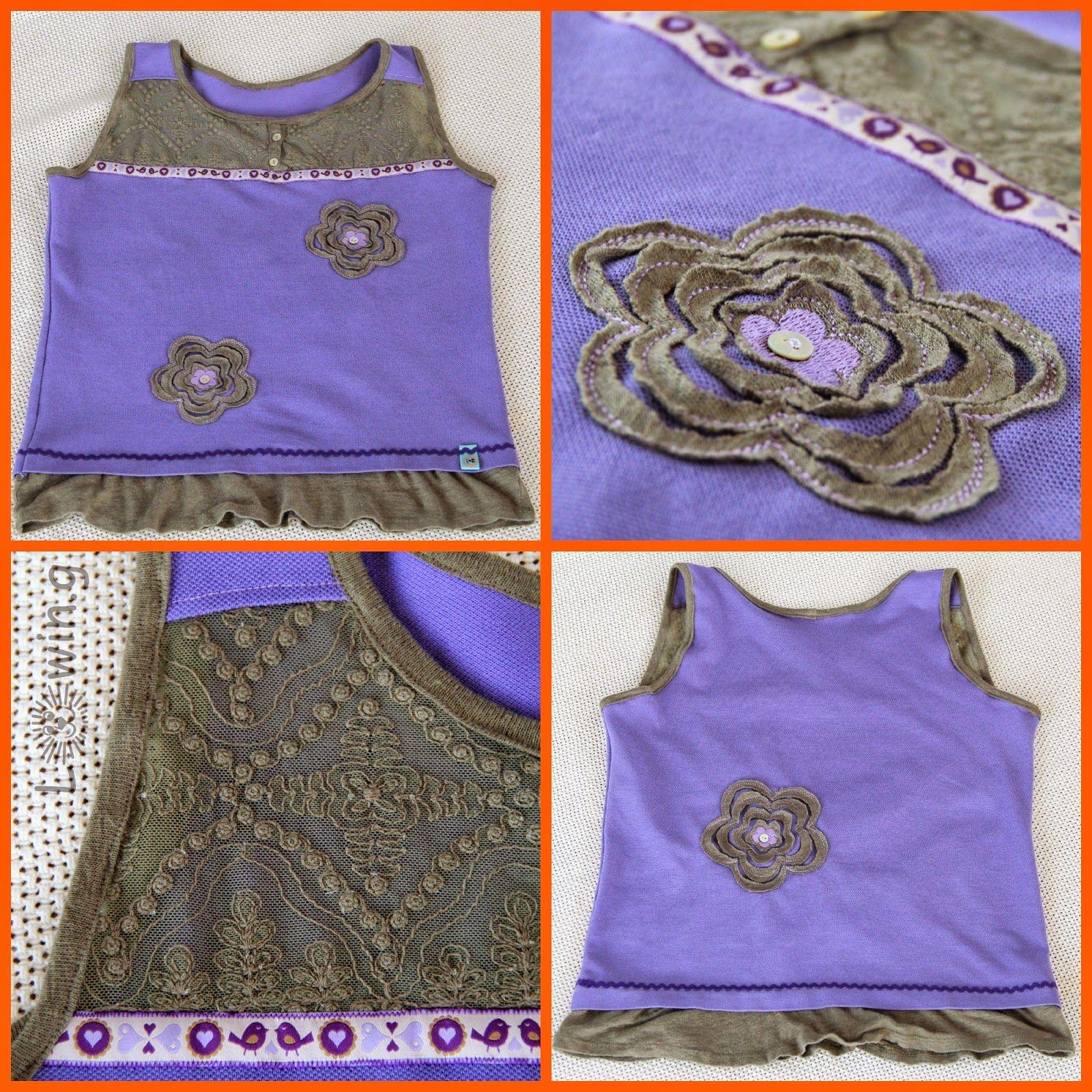 Kindershirt aus 2 kaputten Oberteilen / Children's shirt made from 2 torn shirts / Upcycling