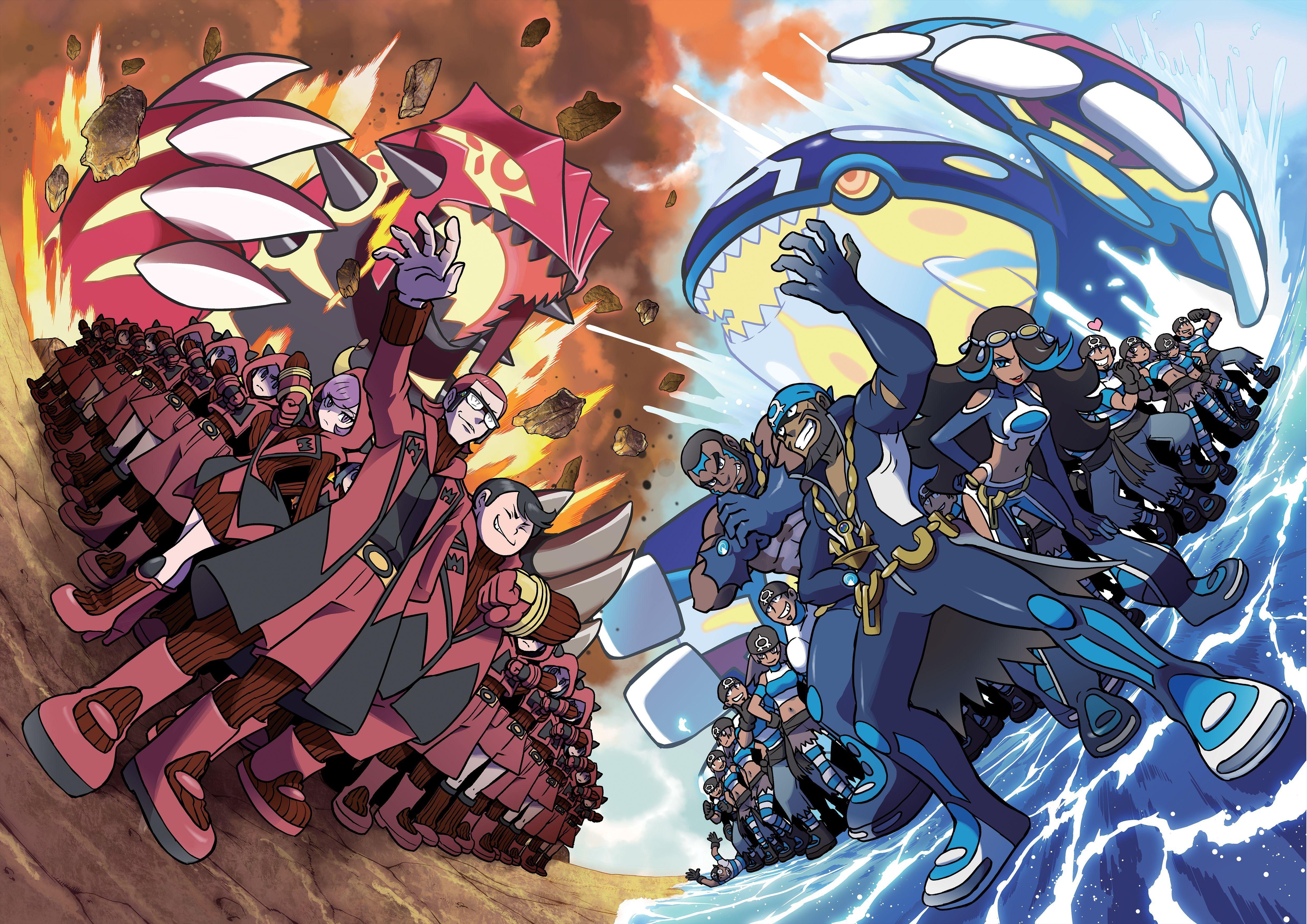 Anime Pokemon Pokémon Kyogre Groudon Team Magma Team Aqua Wallpaper