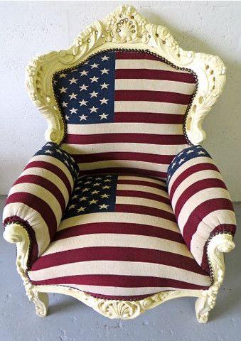 American Flag Baroque Thrown Chair 1,250 U2013 The Yellow Canopy   Miami, FL