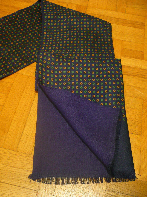 WoW''' LoNG Men ScARF WOOL GaBARDINE  Vintage DoUBLE Dots 1950 1960 1970 Gentleman suit tie Choker Jacket Suit Madmen Rockabilly Vlv Mods de la boutique FeverVintage sur Etsy