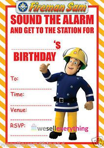 20 Fireman Sam Childrens Kids Birthday Party Invitations Invites A5