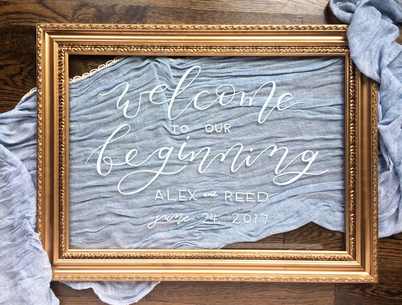 c9fa2b96fa0a White Calligraphy on Gold Framed Glass – Wedding Welcome Sign | our ...