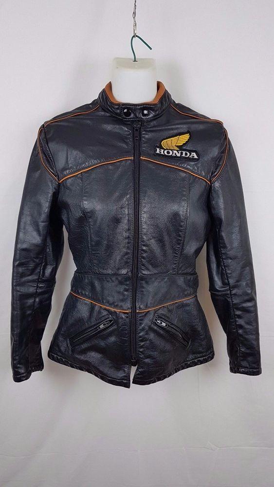Honda Motorcycle Vintage Jacket Black Leather Women 70 S Retro Size 12 Honda Motorcycle Vintage Jacket Jackets Leather Women