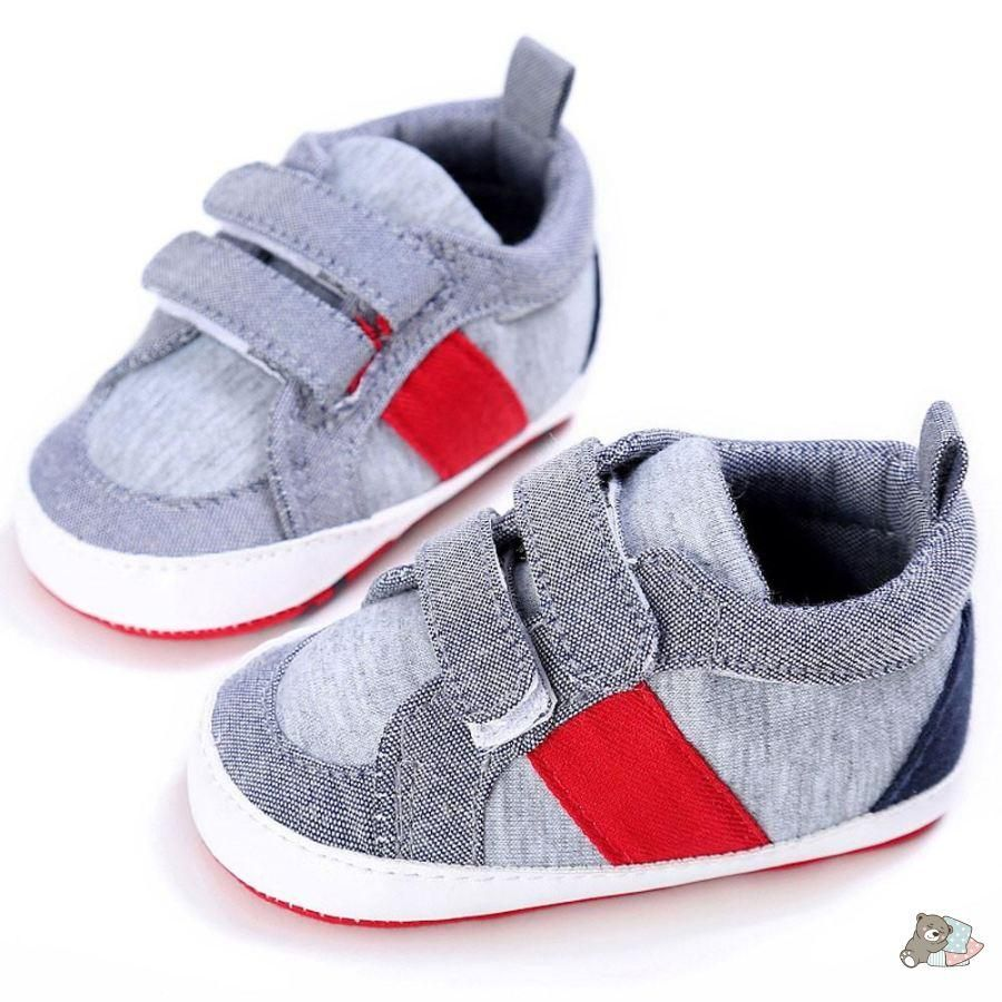 90c24cdd4fca ... Boys Bebe Sapatos First Walker Booties. Red Striped Grey Shoes – Sleepy  Cubs