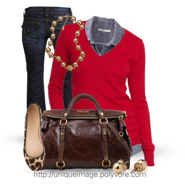 fabulous outfit rojo y marron de la