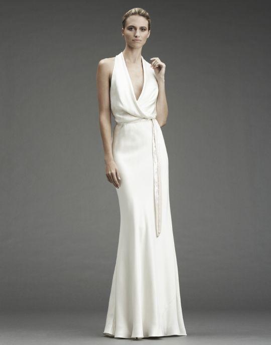 White silk halter column wedding dress with cowl halter neckline ...