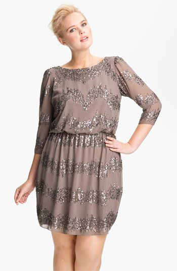 Adrianna Papell Beaded Drop Waist Dress Plus Available At