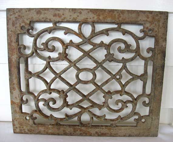 Decorative Open Work Metal Grate With Old By Kelleystreetvintage 38 95