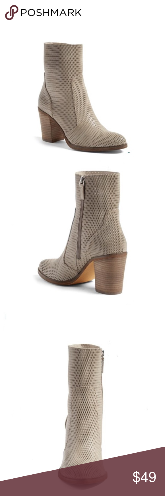 """Hinge daphne taupe leather ankle boot bootie 8.5 An almond-toe bootie made from panels of perforated leather and lifted with a stacked block heel is sure to be a go-to style choice this season. 3"""" heel; 5 3/4"""" shaft (size 8.5) Side zip closure Leather upper/synthetic lining/rubber sole These are labeled a size 7.5 but they run a size larger.  These are NEW not in original box hinge Shoes Ankle Boots & Booties"""