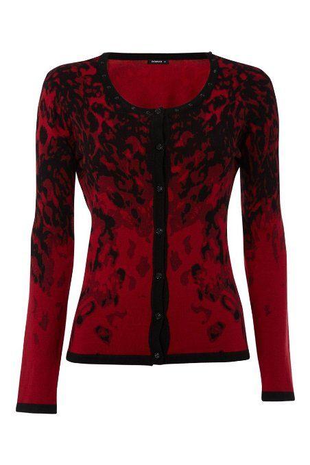 cf5cc8a1ea Roman Originals - Womens Knitwear Print & Stud Cardigan - Cardigan  Bolero Shrug Jacket Pullover