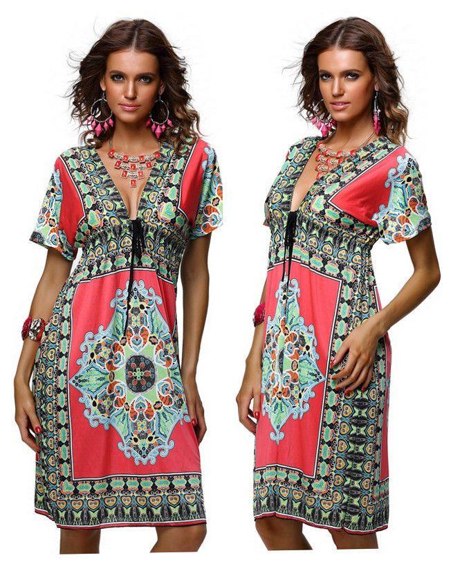 Summer Beach Dress 1960s/1970s Vintage Paisley Print V Neck Hippie Boho @X4178hp