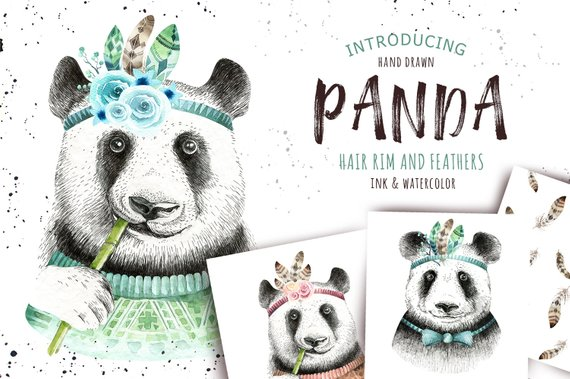 Hand Drawn graphic panda,feather and feathers pattern  Nursary
