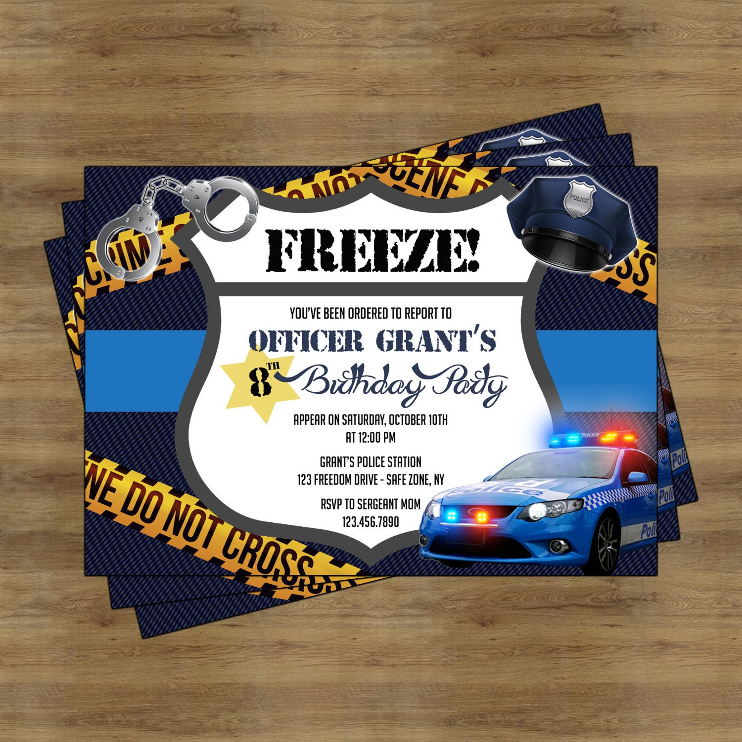 Police Party Invitation Printable Police Birthday Party Police