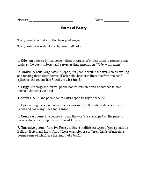 Forms of Poetry Worksheet   ELA   Pinterest   Worksheets, English ...