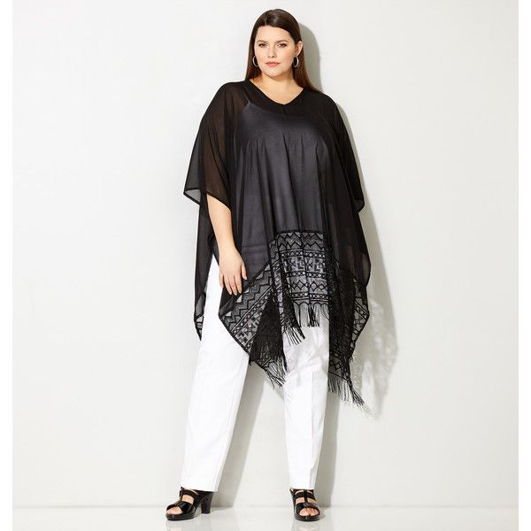 Avenue Plus Size Aztec Crochet Fringe Poncho (45 AUD) ❤ liked on Polyvore featuring outerwear, black, plus size, crochet poncho, plus size poncho, long poncho, woven poncho and aztec poncho
