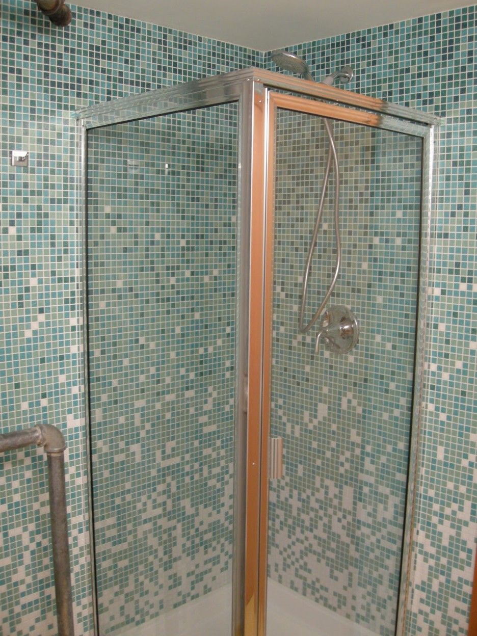 Bathroom. stainless steel frame small glass show… | Bathroom ...