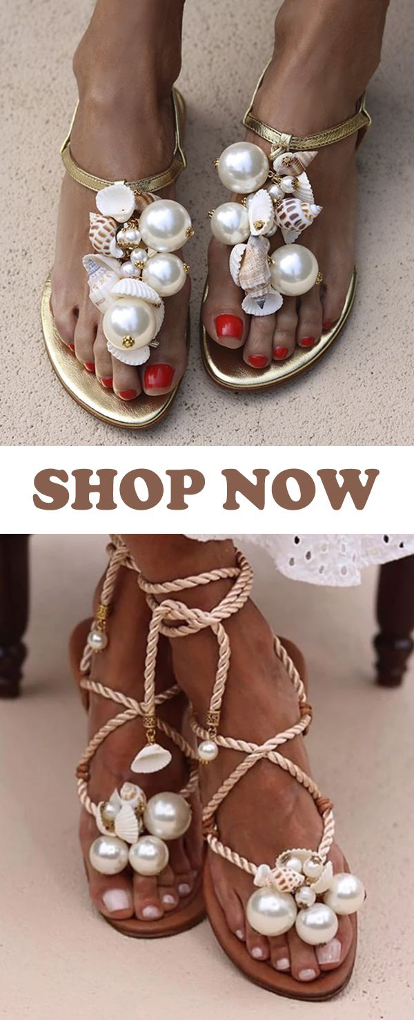 Summer Pearl Beaded Flat Sandals Slippers Collection #SummerShoes #BeachShoes #WeddingSandals #WhiteSandals