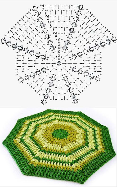 Patrón alfombra de lana octogonal | Tejidos. | Pinterest | Lana ...