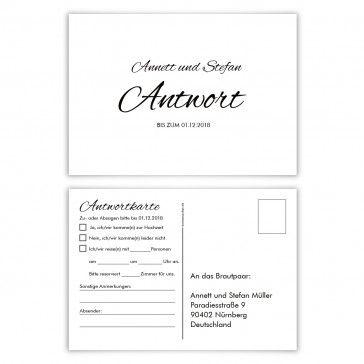 Postkarten Antwortkarten Hochzeit Schlichte Black and White