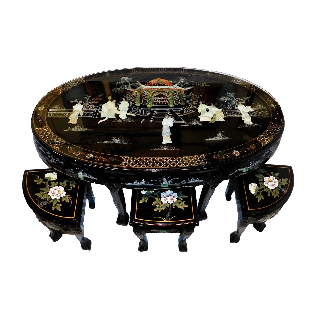 48 Shiny Black Lacquer Oriental Coffee Table Inlaid Pearl With