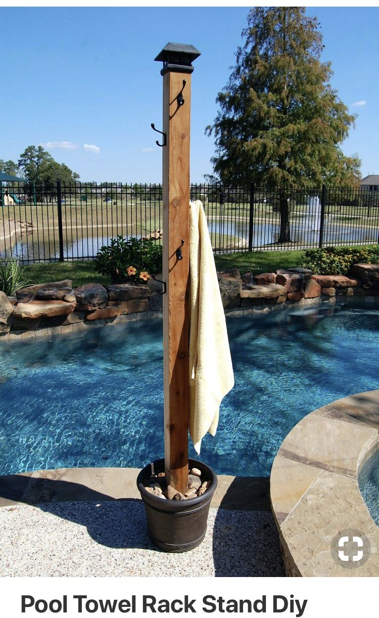 Towel Rack Outside Backyard Pool Landscaping Pool Landscaping Hot Tub Backyard