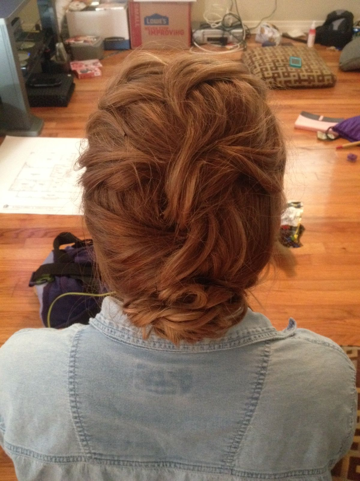 French braided updo with curly twists at the end for homecoming! Good for short, thick hair. Would look stunning for a wedding with a veil || Hair by Kayla Johnson
