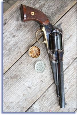 A loaded and capped '58 Remington is as formidable a handgun as you will find. There are no compromises with this Civil War era technology weapon.