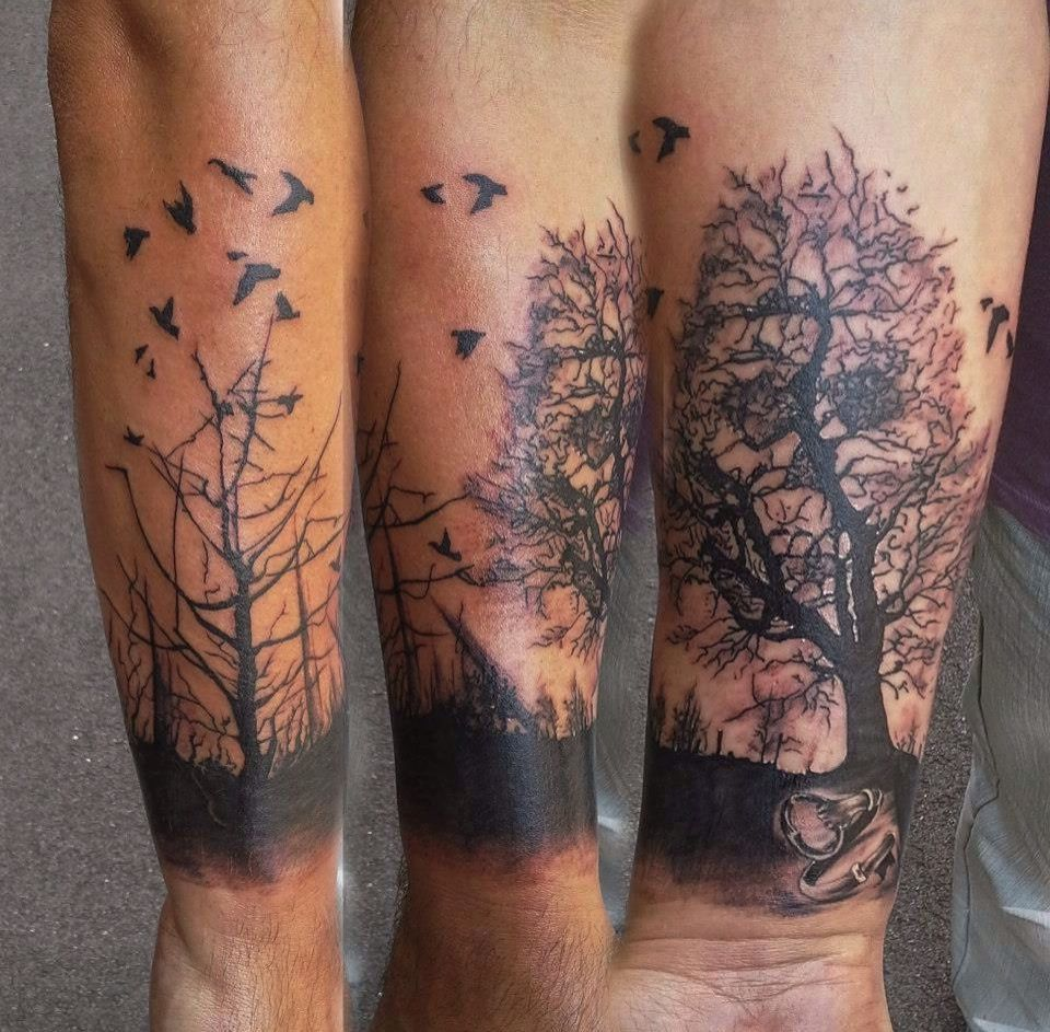 My new tattoo ) dead Forrest trees silhouette crows