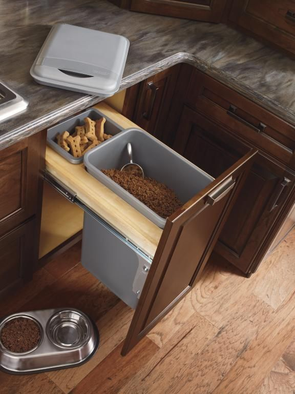 Storage aficionados will love being able to have a place for everything, including a beloved pet's food. (Base Wastebasket with lid, by Diamond)