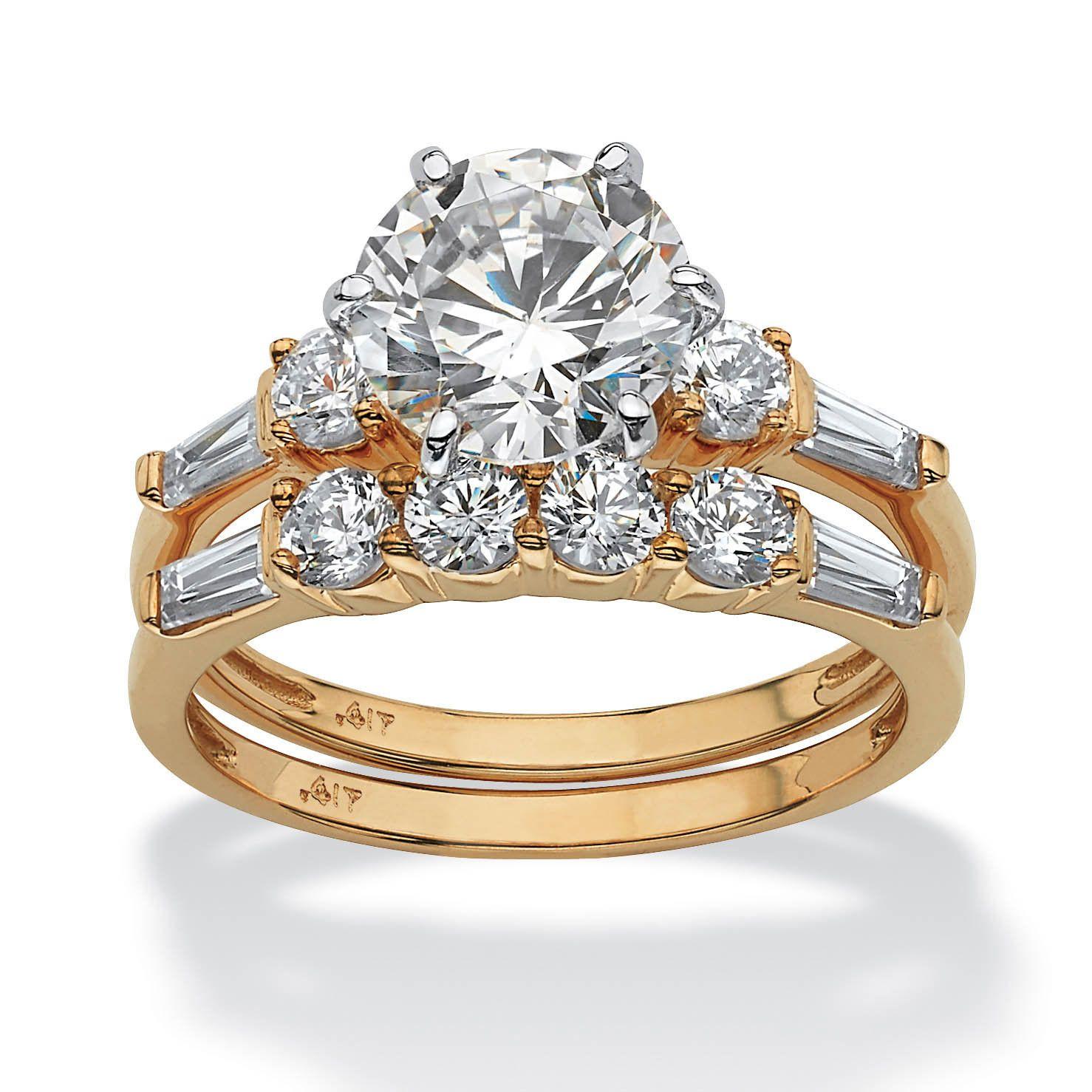 10K Yellow Gold Cubic Zirconia Bridal Ring Set White