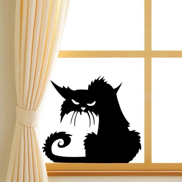 Halloween Scary Black Cat Glass Sticker Halloween Decor (170 RUB