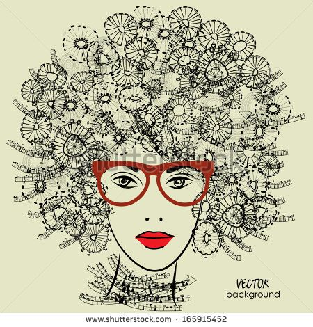Art Sketched Beautiful Girl Face With Glasses And Curly Hairstyle In