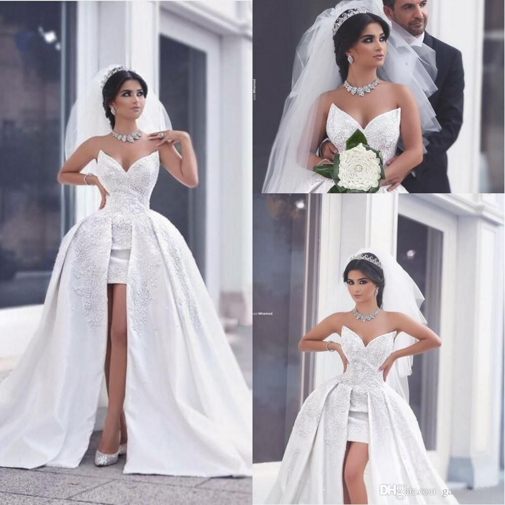 2016 Two Pieces Detachable Train Short Sparkly Pearls Beach Wedding Dresses With Overskirt Sweetheart Bac Ball Gowns Wedding Bridal Dresses Short Wedding Dress