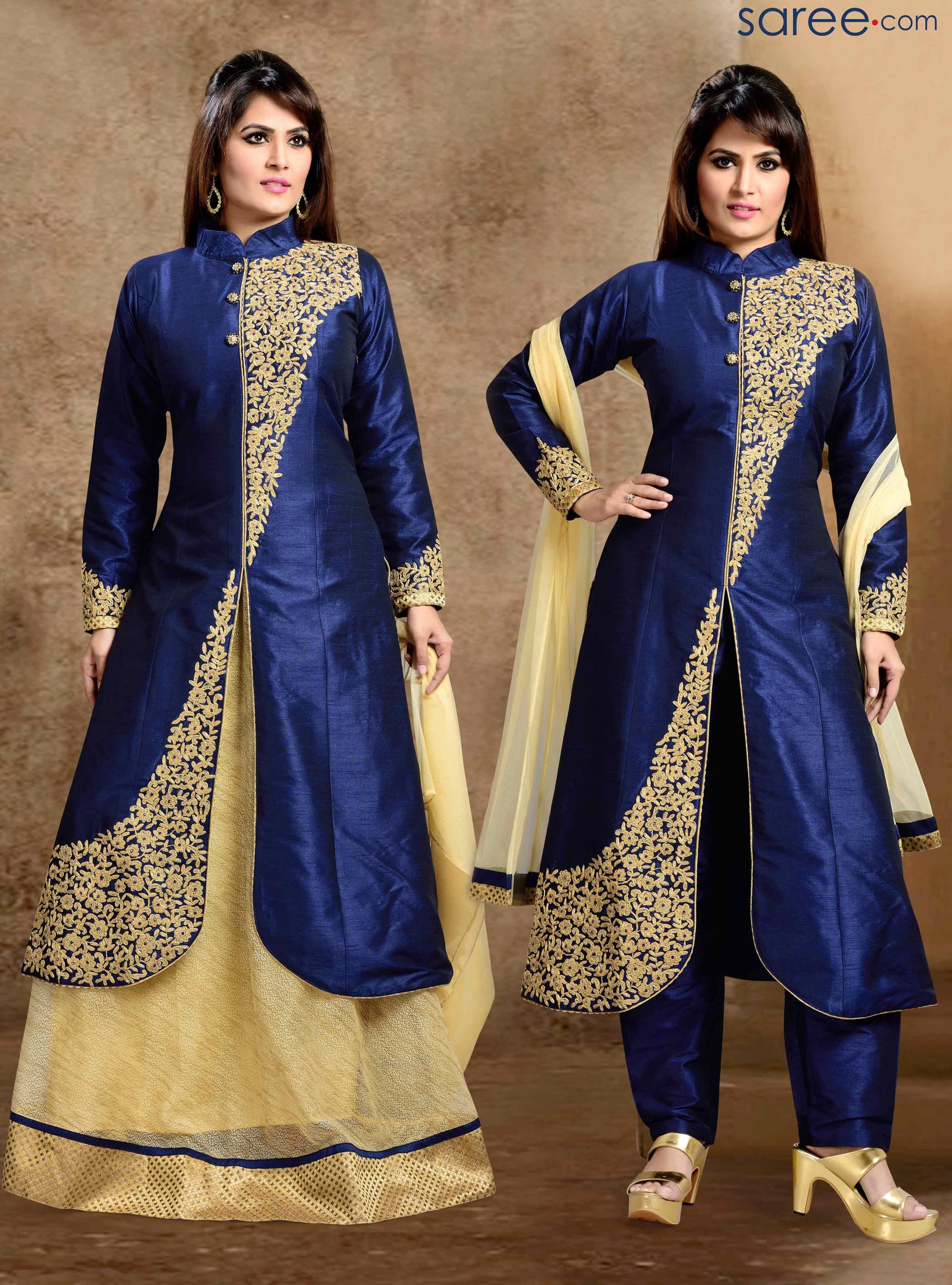 Blue dupion silk indo western suit salwar suits pinterest