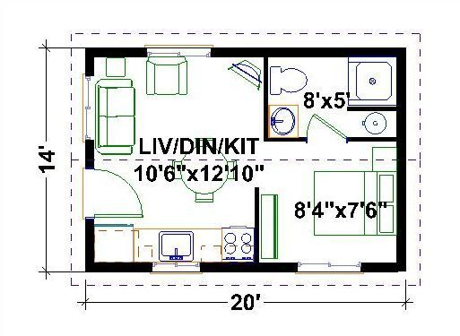 Very tiny houses floor plans one bedroom homes for Very small house floor plans