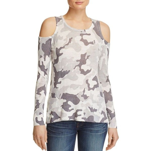 75e0cb6acc43d Aqua Camo Cold Shoulder Sweater ( 92) ❤ liked on Polyvore featuring tops