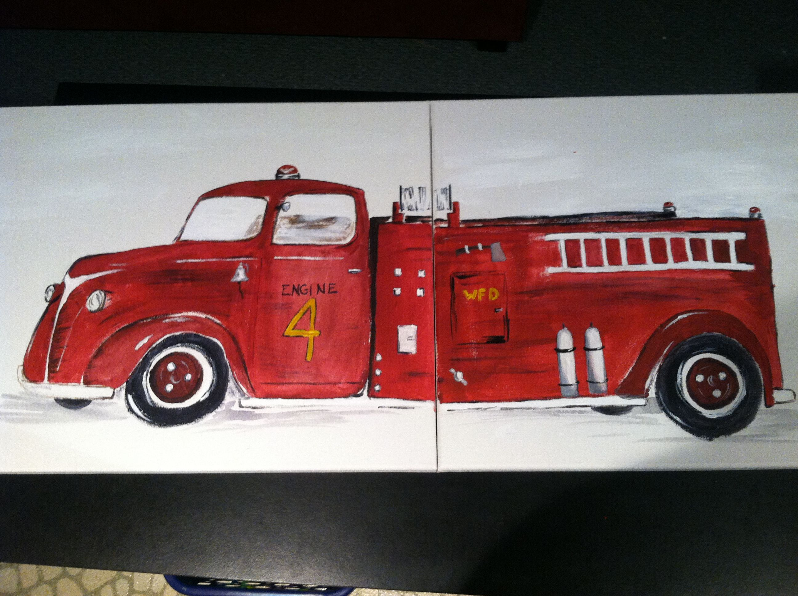fire truck painting s for boy bedroom layton pinterest