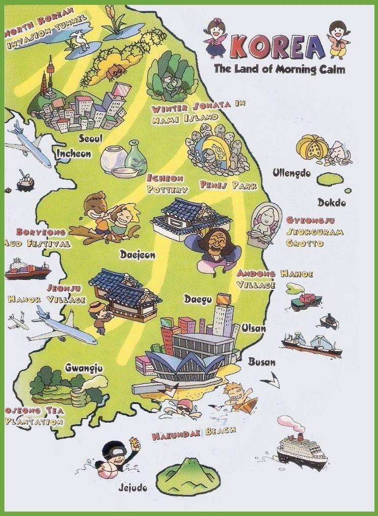 Tourist map of South Korea | map in 2019 | Korea map, Korea, South ...