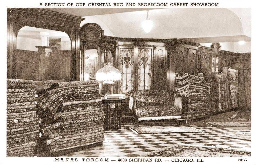 Postcard Chicago Manas Torcom Oriental Rugs 4838 Sheridan Road Showroom Interior 38 Years In Business Cleaning Rugs Chicago Old Photos
