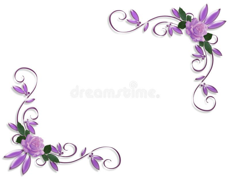 Purple Roses Corner Border Designs Lavender Roses Image And Illustration Compos Ad Lavender Desig Page Borders Design Floral Border Design Page Borders